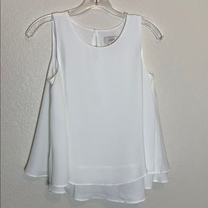 Loft Sleeveless Two Tiered White Tank Top